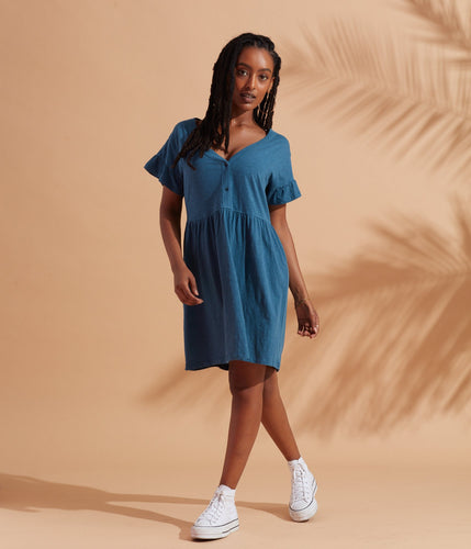 Known Supply Organic Cotton Slub Naomi Tee Dress - Sea Blue