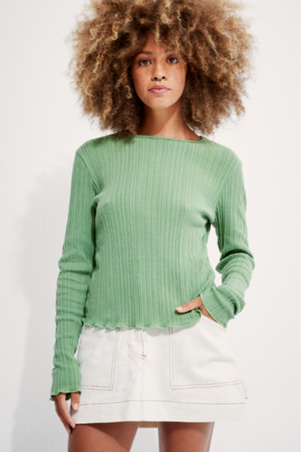 Back Beat Co. Organic Cotton Kara Long Sleeve Ribbed Tee - Fern