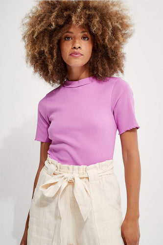 Jazz Mock Neck Tee - Cyber Pink