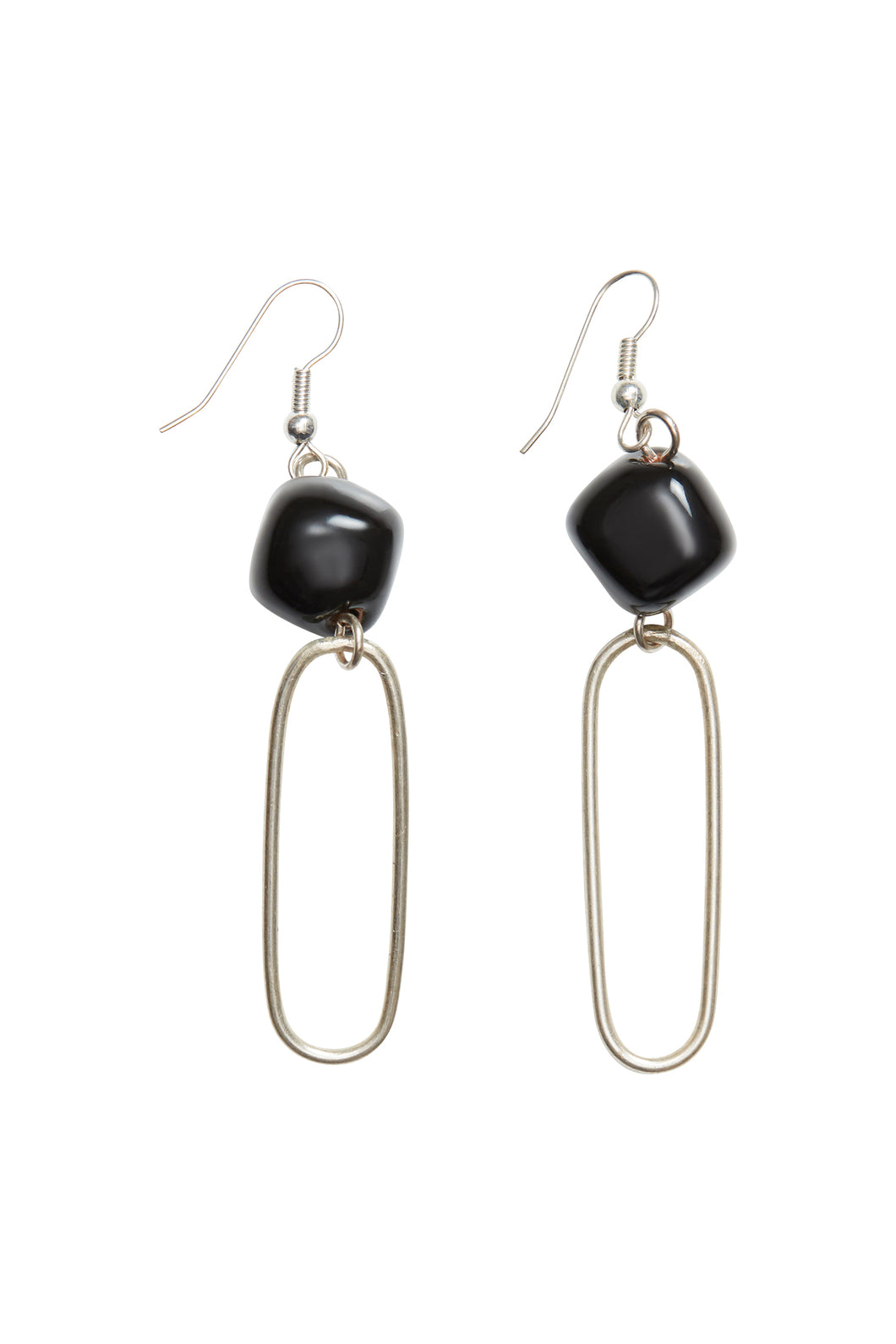 Bead and Oval Earrings - Silver