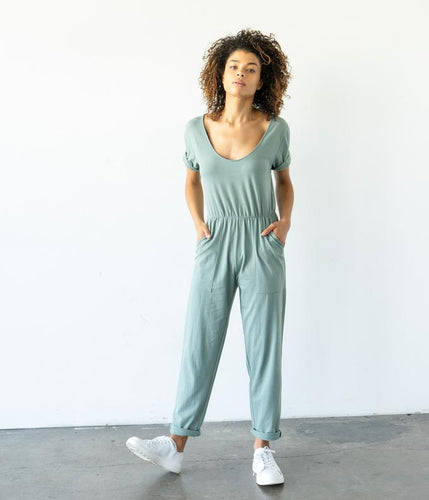 Fair Trade Organic Cotton Jumpsuit and Elastic Waist - Sage Green