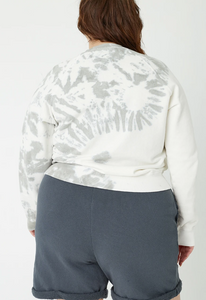 Back Beat Co. Hemp Fleece Cropped Sweatshirt - Creme/Cement Tie Dye