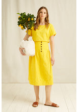 Load image into Gallery viewer, Organic Cotton Handwoven Yellow Epperly Midi Skirt - Fair Trade