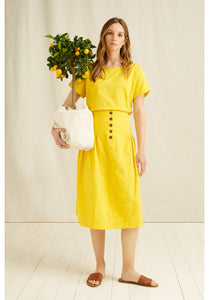 Organic Cotton Handwoven Yellow Epperly Midi Skirt - Fair Trade