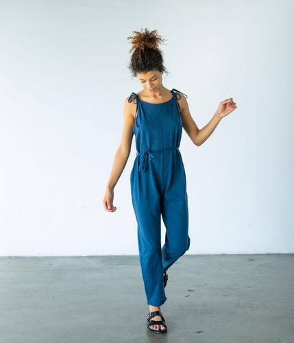 Einsley Organic Cotton Jumpsuit with Adjustable Straps - Blue