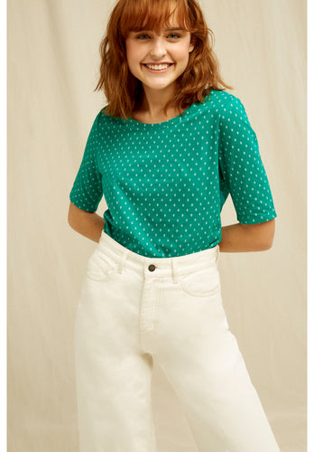 Organic Cotton Tee with Elbow Length Sleeves - Green with White Print