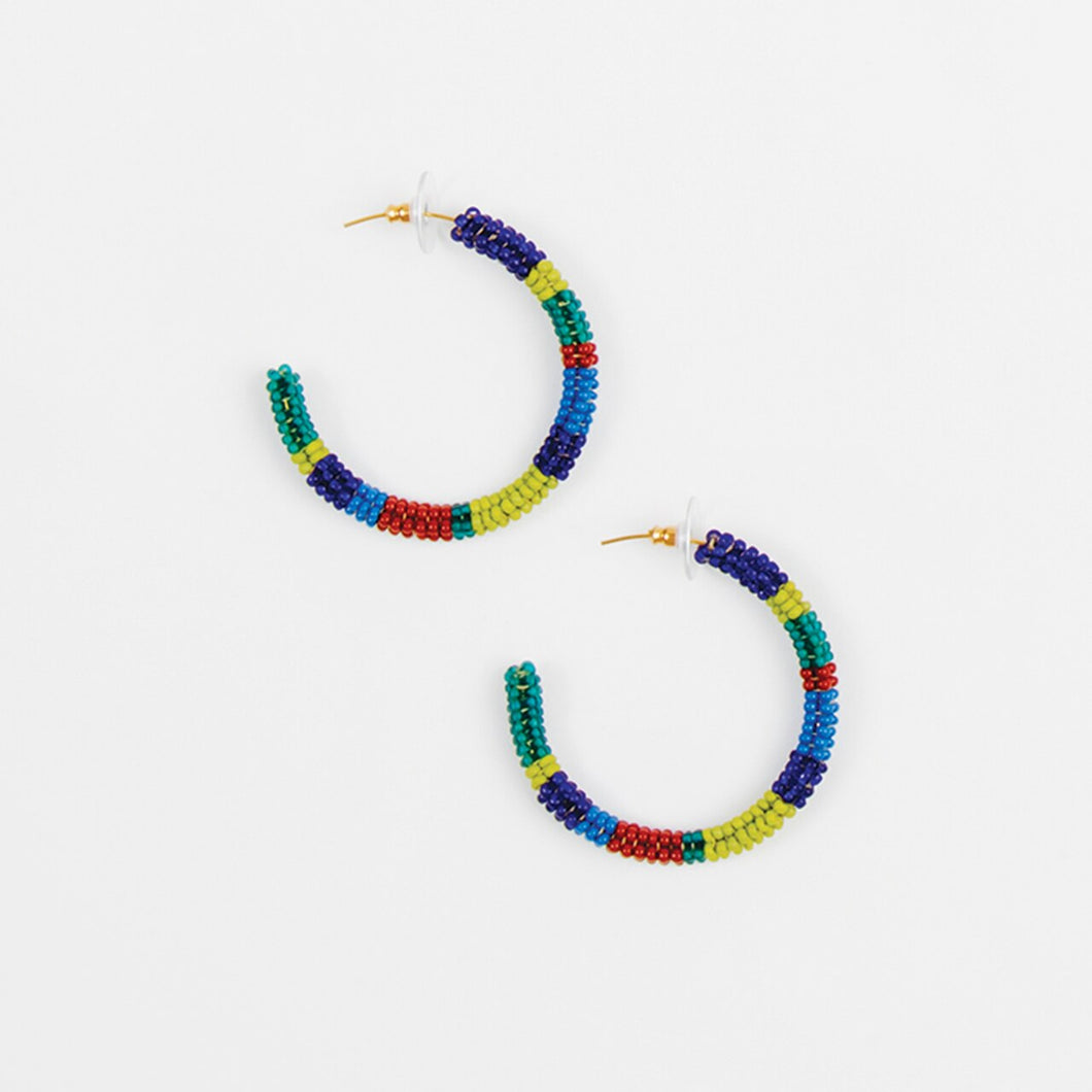 Fair Trade Striped Beaded Hoop Earring - Made in Guatemala