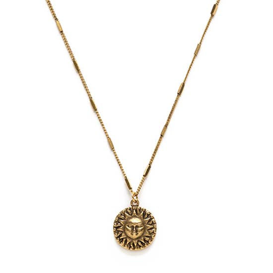 Gold Sun Medallion Necklace