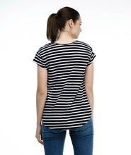 Load image into Gallery viewer, Maya Tee - Black/White Stripe
