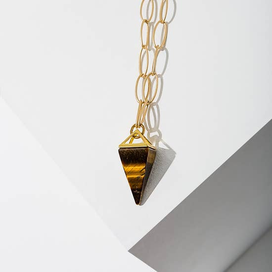 Larissa Loden Tiger Eye Pyramid Drop Necklace