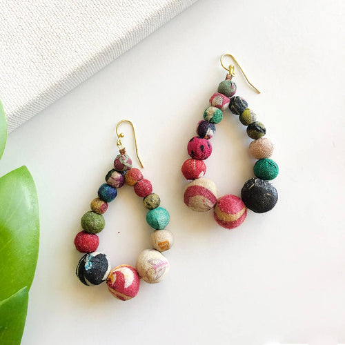 Kantha Graduated Teardrop Earrings - WorldFinds