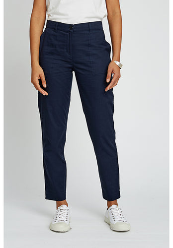 Organic Cotton Navy Ankle Length Pants - Fair Trade