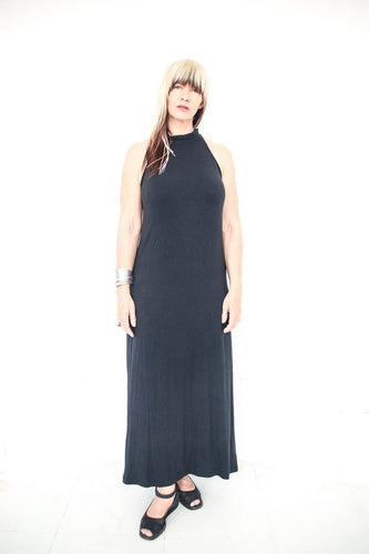 Chanlina Maxi Dress with High Neck - Black
