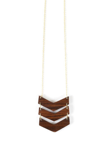 Chevron Wood Necklace