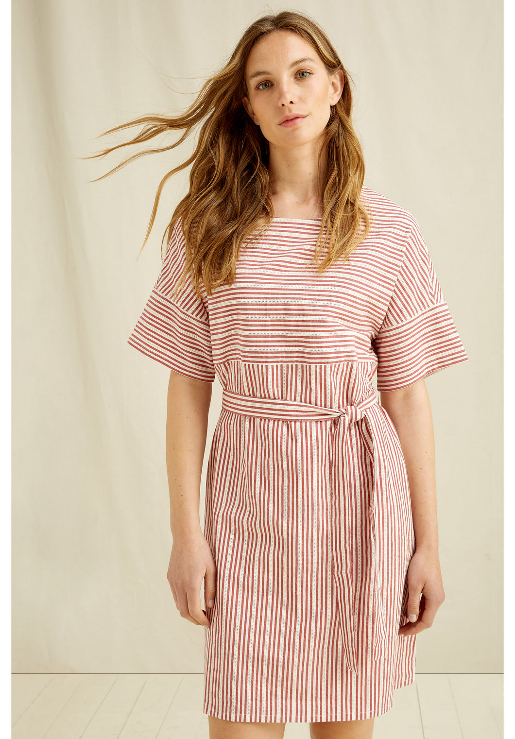 Organic Cotton Handwoven Dress - Red and White Stripe