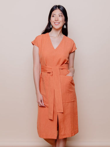 Organic Linen Cotton Blend Tie Dress in Amber- Mata Traders