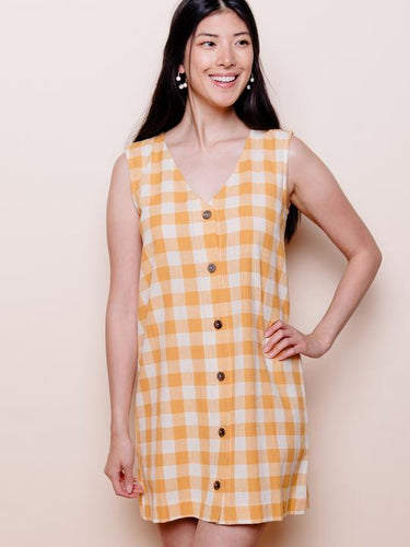 Sleeveless Gold Gingham Organic Cotton Woven Shift Dress - Fair Trade