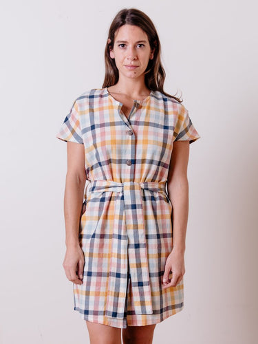 Gingham Organic Cotton Woven Button Front Shirt Dress - Fair Trade