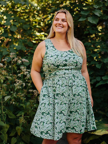Jasmine Green Floral Knit Cotton Dress with Elastic Waist - Fair Trade