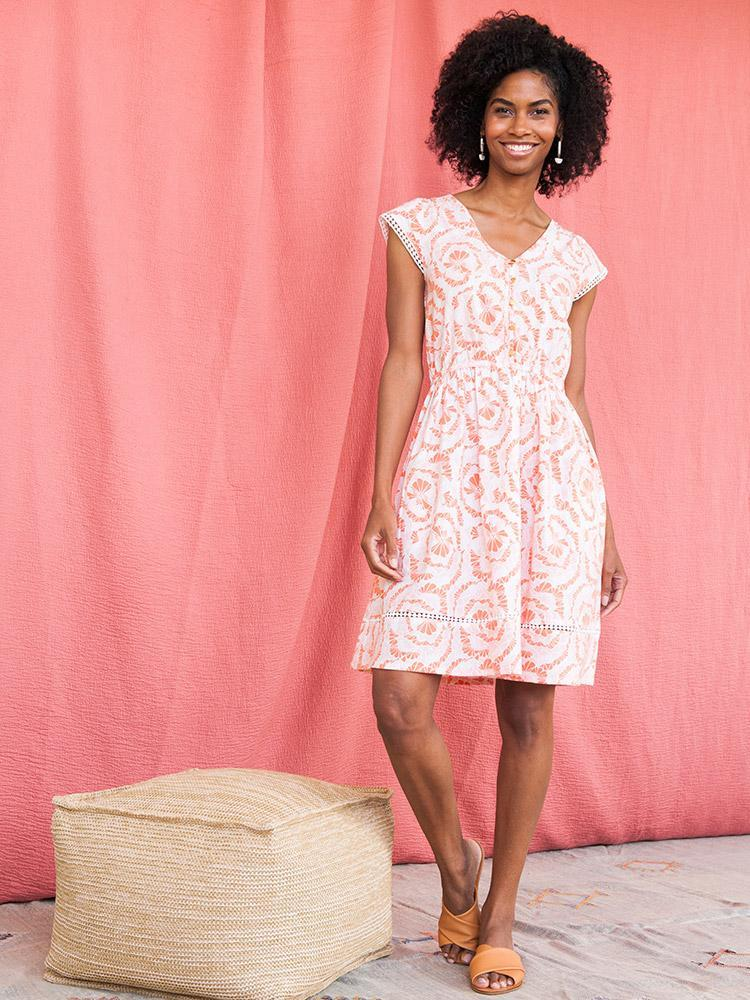 Coral and White Floral Cotton Dress with Elastic Waist - Fair Trade