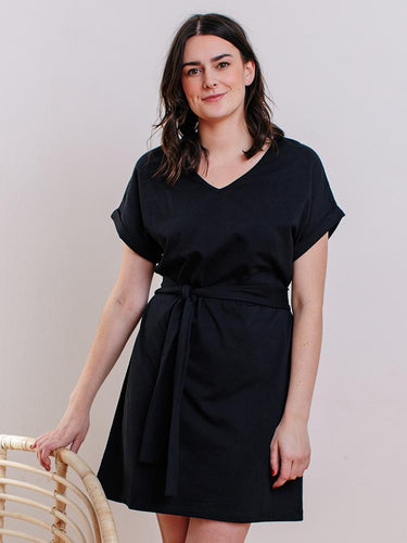 Montrose Dress with Belt - Black Organic Knit Cotton