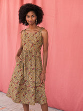 Load image into Gallery viewer, Floral Hand Block Printed Midi Dress - Fair Trade Organic Cotton