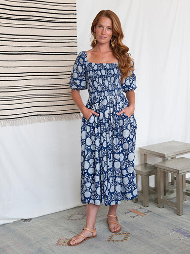 Imperial Blue with White Floral Maxi Dress - Fair Trade Organic Cotton