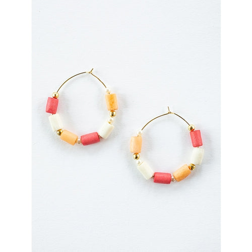 Emily Hoop Earrings Coral - Mata Traders
