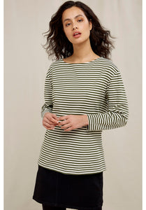 People Tree Emma Striped Top in Green