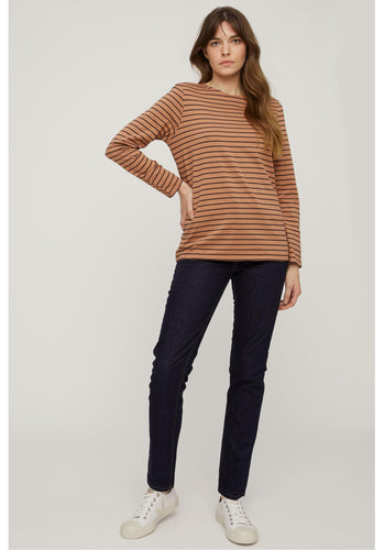 Felicity Stripe Top - Coffee