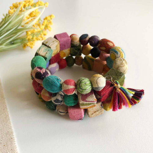Kantha Spiral Shapes Bracelet - WorldFinds Beaded Bracelet