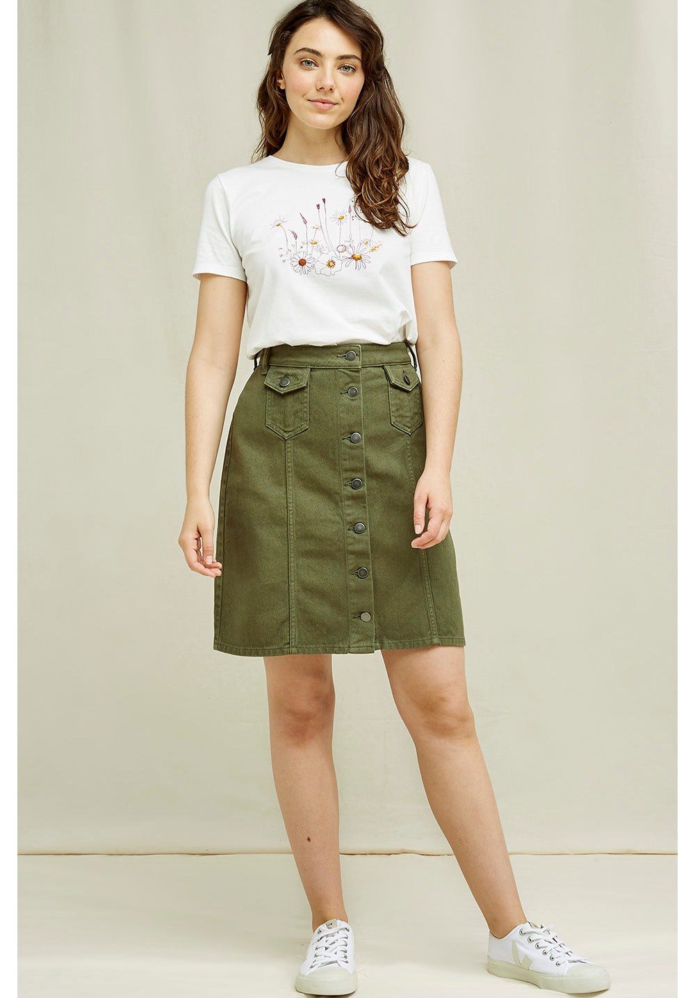 Francine Skirt - Fair Trade and Organic Cotton Khaki