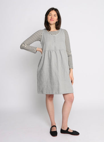 Conscious Clothing Artist Dress with Snap Top - Sky Grey Linen