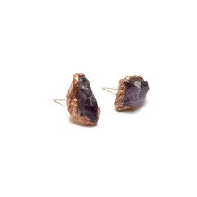Load image into Gallery viewer, Amethyst Raw Crystal Earrings