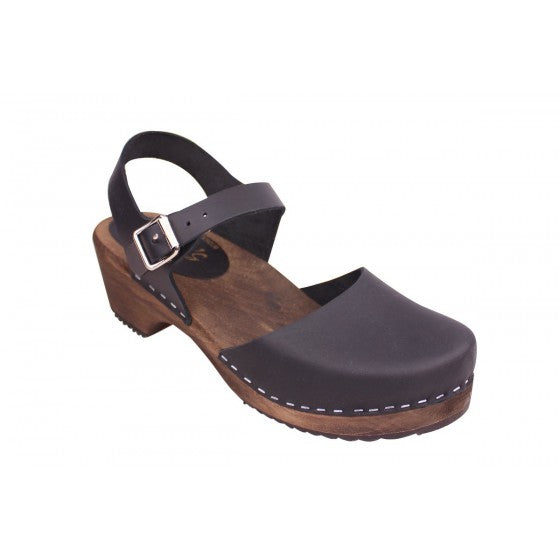 Lotta from Stockholm Low Wood Clog - Black