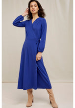 Load image into Gallery viewer, People Tree Inga Wrap Dress in Blue