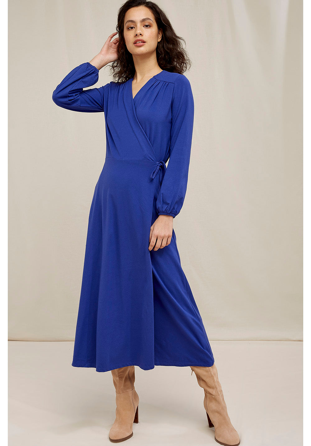 People Tree Inga Wrap Dress in Blue