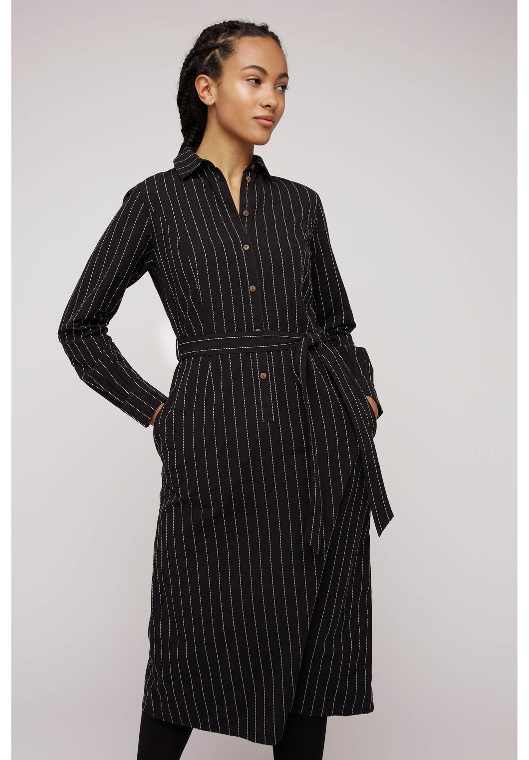 Isadora Pinstripe Shirt Dress