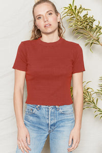 Back Beat Co. Organic Cotton Jazz Mock Neck Tee - Merlot