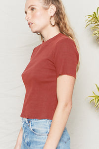 Jazz Mock Neck Tee - Merlot
