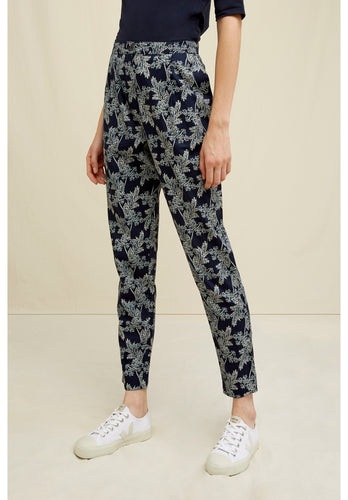 Organic Cotton Wild Fennel Print Navy Trousers