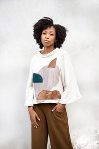 tonlé Jorani Sweatshirt with Appliqué - Cream