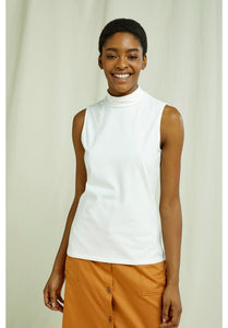 People Tree Fair Trade Turtleneck Tank Top - White