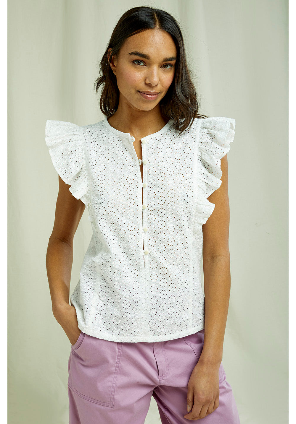 People Tree - Organic Cotton Kyra Broderie Top