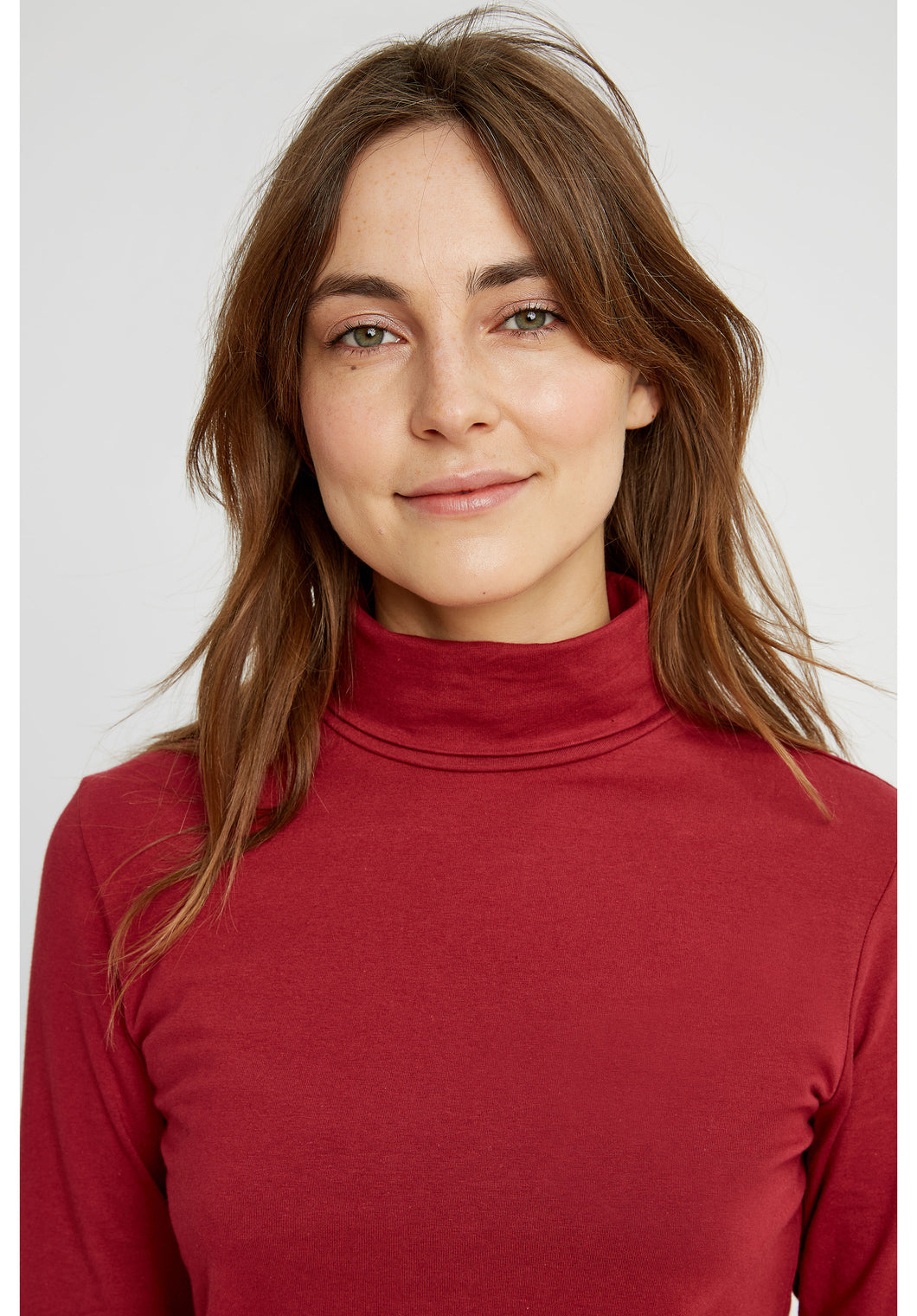Laila Roll Neck Top - Red