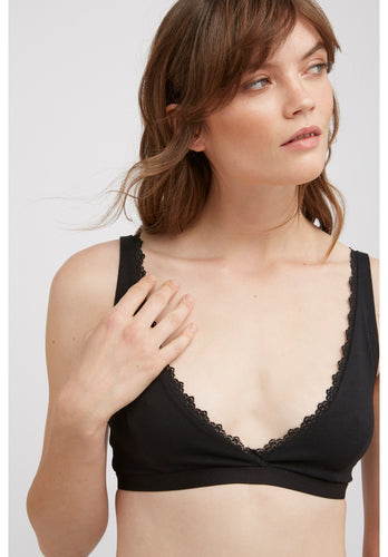 Lace Trim Triangle Bra - Black