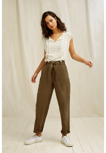 Organic Cotton Stretch Utility Pant - Khaki Green