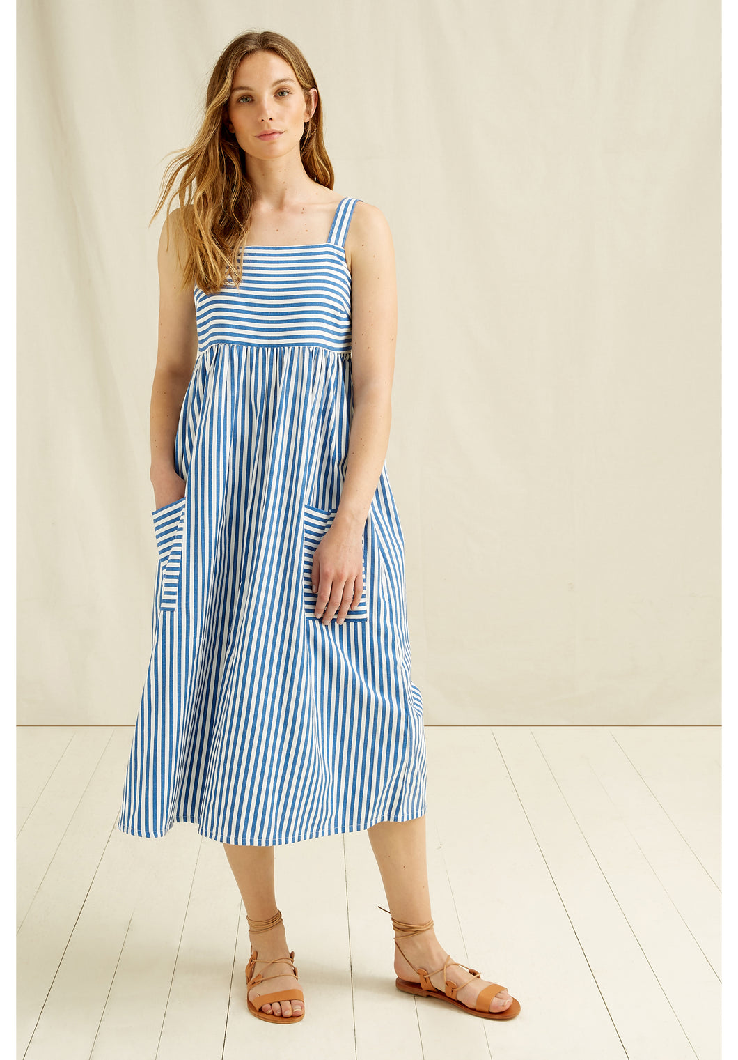Handwoven Organic Cotton Midi Dress - White and Blue Stripe