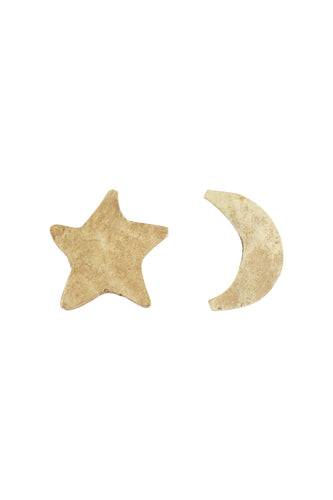 Star and Moon Stud Earrings - Brass