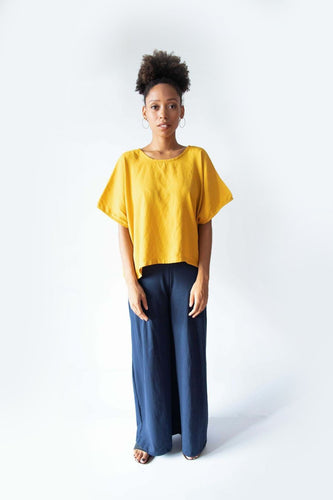 Flowy Marigold Yellow Top - Zero Waste Free Size